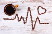 Electrocardiogram Line Of Roasted Coffee Grains And Cup Of Hot Coffee, Ecg Heart Rhythm, Medicine An poster