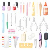Manicure Vector Pedicure And Manicuring Accessory Or Tools Nail-file Or Scissors Of Manicurist In Na poster