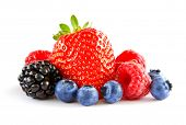 Fresh Sweet Berries Isolated on the White Background. Ripe Juicy Strawberry, Raspberry, Blueberry, B poster