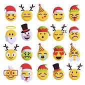 Christmas Emoji Funny And Cute Holiday Set poster