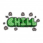 cartoon doodle chill sign poster