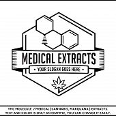 Thc Molecule / Medical (marijuana, Cannabis) Extracts. Vector And Illustration. Logo Design. T-shirt poster