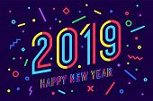 2019, Happy New Year. Greeting Card Happy New Year 2019 poster