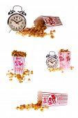 pop corn, caramel corn, snack, hot popcorn -various versions of a box of fresh popped Caramel Corn also known as  Caramel Popcorn. isolated on white with room for your text