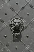 Bronze knocker in the shape of a lion head from the Residenzschloss Castle in Dresden, Germany