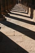 Shadows of ancient columns in the famous Temple of Isis on the Philae Island near Aswan, Egypt