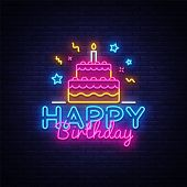 Happy Birthday Neon Text Vector. Happy Birthday Neon Sign, Design Template, Modern Trend Design, Nig poster