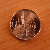 Czech coin of ten korunas with a Gothic cathedral in Brno, Czech Republic.