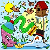 A Beautiful Colored Spring Illustration With Spring Objects, A Birdhouse With Birds, A Snowman Melte poster