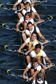 Junior rowing team rowing ahead during a boat-race on the River Vltava in Prague, Czech Republic