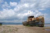 Old ship at the bank of Lake Baikal in Siberia, Russia