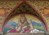 Czech two-tailed Lion, the Czech national emblem, in the mosaic from 19th century on a bank building