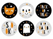Funny Hand Drawn Halloween Candy Bar Tags. Cute Halloween Cartoons. Infantile Style. Skull, Cat And  poster
