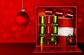 Red Gift Box Filled With Green Party Favors, Decorative Red & White Ribbon And Christmas Ornaments O