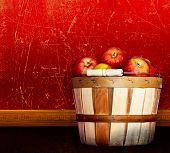 Basket Of Red Delicious & Pink Lady Apples ~ Vintage Antique Textured & Distressed Red & Taupe Plast