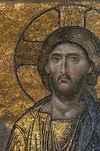 Byzantine mosaic of the Jesus Christ in Hagia Sophia in Istanbul, Turkey.