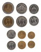 Set of Thai Bath coins isolated on white