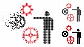 Project Mechanics Icon In Dissolved, Pixelated Halftone And Solid Versions. Elements Are Organized I poster