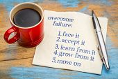overcome failure tips - handwriting on a napkin with a cup of coffee poster