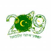 Happy New 2019 Year With Flag Of Cocos Islands. Holiday Grunge Vector Illustration. poster