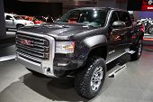 CHICAGO - FEBRUARY 15: The GMC Sierra presentation at the Annual Chicago Auto Show on February 15, 2