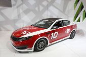 CHICAGO - FEBRUARY 15: The KIA race car presentation at the Annual Chicago Auto Show on February 15,