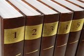 Five volumes of encyclopedia - books in a row