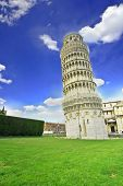 Leaning Tower of Pisa in Italy with cathedral