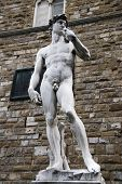 Replica of Michelangelo's David at its original standing place