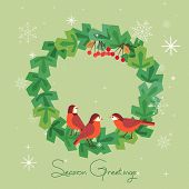 Fancy Seasonal Poster. Cartoon Playful Fun Red Birds In Christmas Tree Wreath. Template For Merry Ch poster