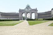 The Triumphal Arch (Arc de Triomphe) in the Cinquantenaire park in Brussels, Belgium. Built in 1880