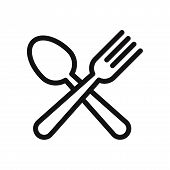 Spoon And Fork Icon Isolated On White Background. Spoon And Fork Icon In Trendy Design Style. Spoon  poster