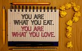 Text Sign Showing You Are What You Eat. You Are What You Love.. Conceptual Photo Start To Eat Health poster