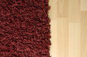 Red fluffy rug on laminate floor