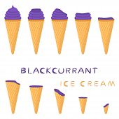 Vector Illustration For Natural Blackcurrant Ice Cream On Waffle Cone. Ice Cream Pattern Consisting  poster