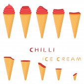 Vector Illustration For Natural Chili Ice Cream On Waffle Cone. Ice Cream Pattern Consisting Of Swee poster