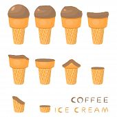 Vector Illustration For Natural Coffee Ice Cream On Waffle Cone. Ice Cream Pattern Consisting Of Swe poster