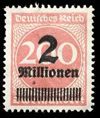 GERMANY - CIRCA 1923: Stamp printed by Germany shows a German stamp with overprint