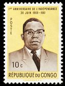 CONGO - CIRCA 1961:Stamp printed by Congo shows commemorative stamp celebrating the first year of in