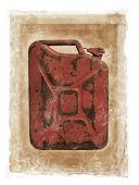 Grunge dirty photomanipulation of a jerry can fuel container.