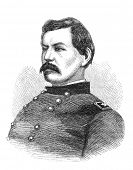 George B. McClellan, a union general in the American Civil War. Illustration from The Leisure Hour magazine june 1864, the image is in public domain.