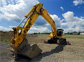 Construction Front End Loader With Large Excavating Bucket Attached