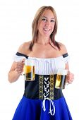 Beautiful Woman Wearing A Traditional Blue Dirndl Costume For Oktoberfest Celebrations Holding Two Beer Steins