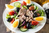 Fresh Fish Tuna Salad Made Of Tomato, Ruccola, Tuna, Eggs, Arugula, Crackers And Spices. Caesar Sala poster