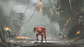 Broken Robot With Low-battery Walking In Ruined City, Digital Art Style, Illustration Painting poster