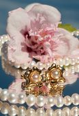 Pearl ear rings with pearl necklace and a hibiscus blossom