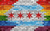 Brick Wall Chicago And Gay Flags - Illustration, Rainbow Flag On Brick Textured Background,  Abstrac poster