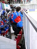 Ice hockey players on chair. A little bit haze and blur