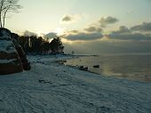 Baltic sea winter sunset
