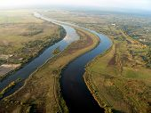 Aerial view of river curve